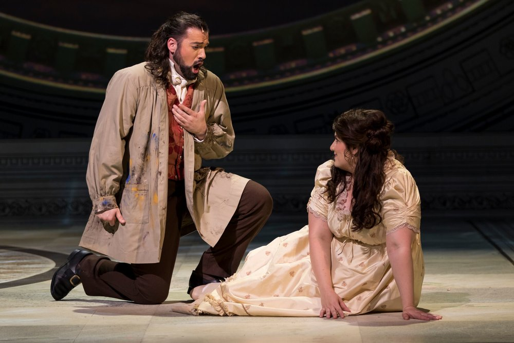 Mackenzie Gotcher as Cavaradossi and Alexandra as Tosca. Photo by Scott Suchman; courtesy of Wolf Trap Opera.