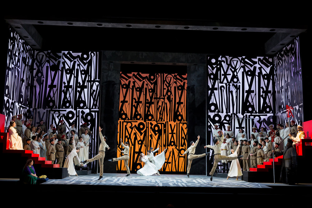 Aida  - Washington National Opera Youth Dancers; art by RETNA. Photo by Scott Suchman; courtesy of the Washington National Opera.