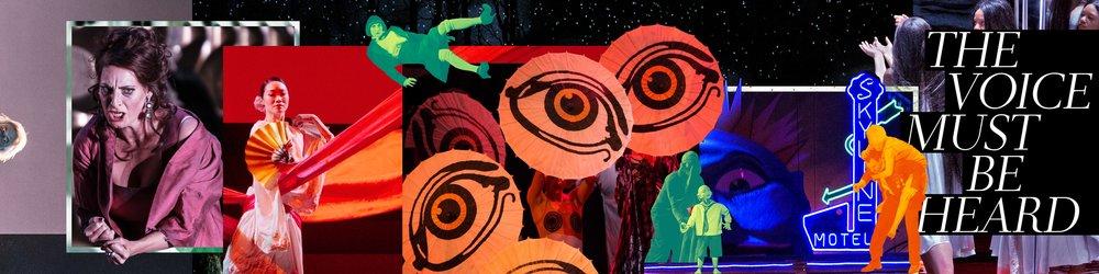 Poster for the Metropolitan Opera's new logo: The Voice Must Be Heard. Courtesy of the Metropolitan Opera.