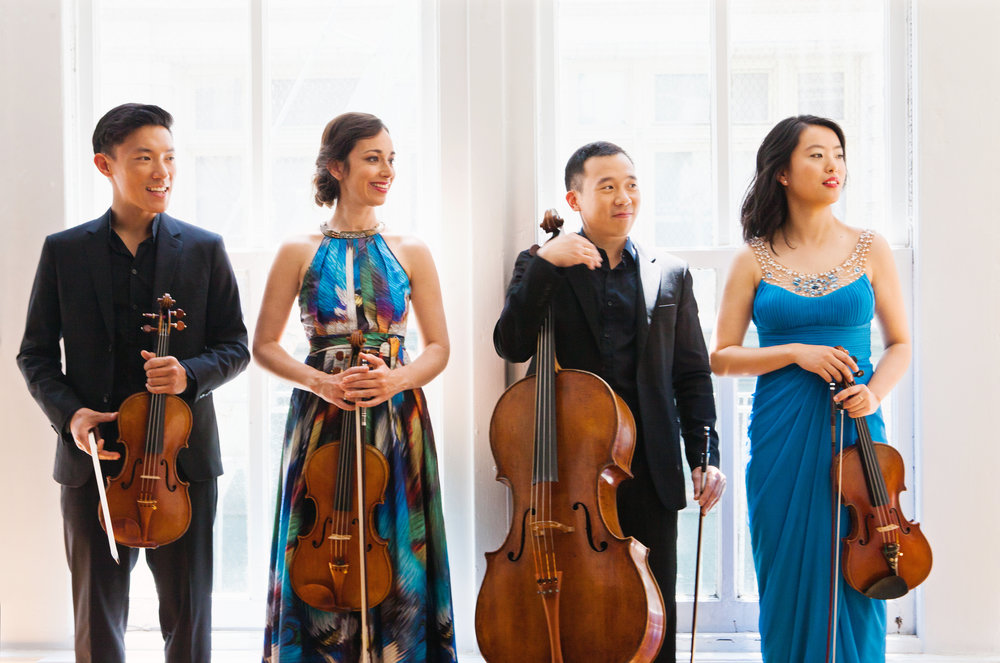 The Parker Quartet: Daniel Chong, Jessica Bodner, Kee-Hyun Kim, and Ying Xue. Photo by Jamie Jung; courtesy of the Candlelight Concert Society.