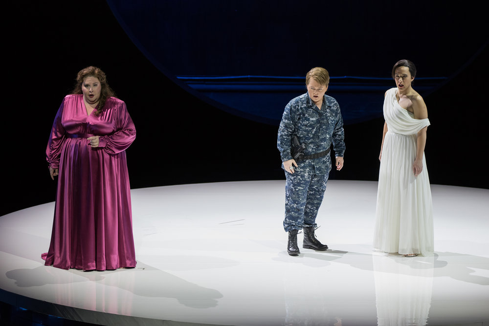 Angela Meade as Alcina, Elizabeth DeShong as Ruggiero, and Daniela Mack as Bradamante. Photo by Scott Suchman; courtesy of Washington National Opera.