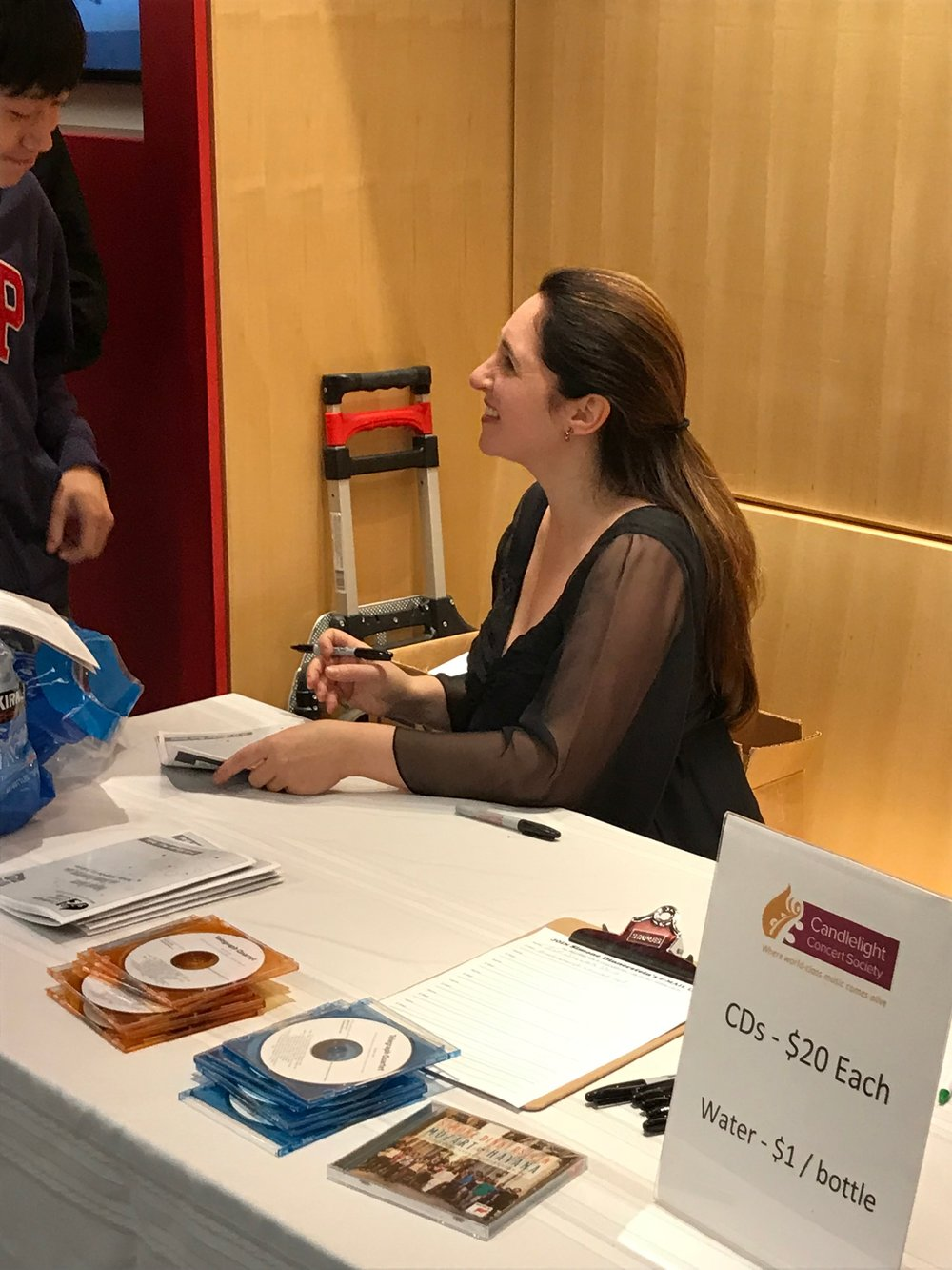 Simone Dinnerstein signing autographs after the concert. Photo by author.