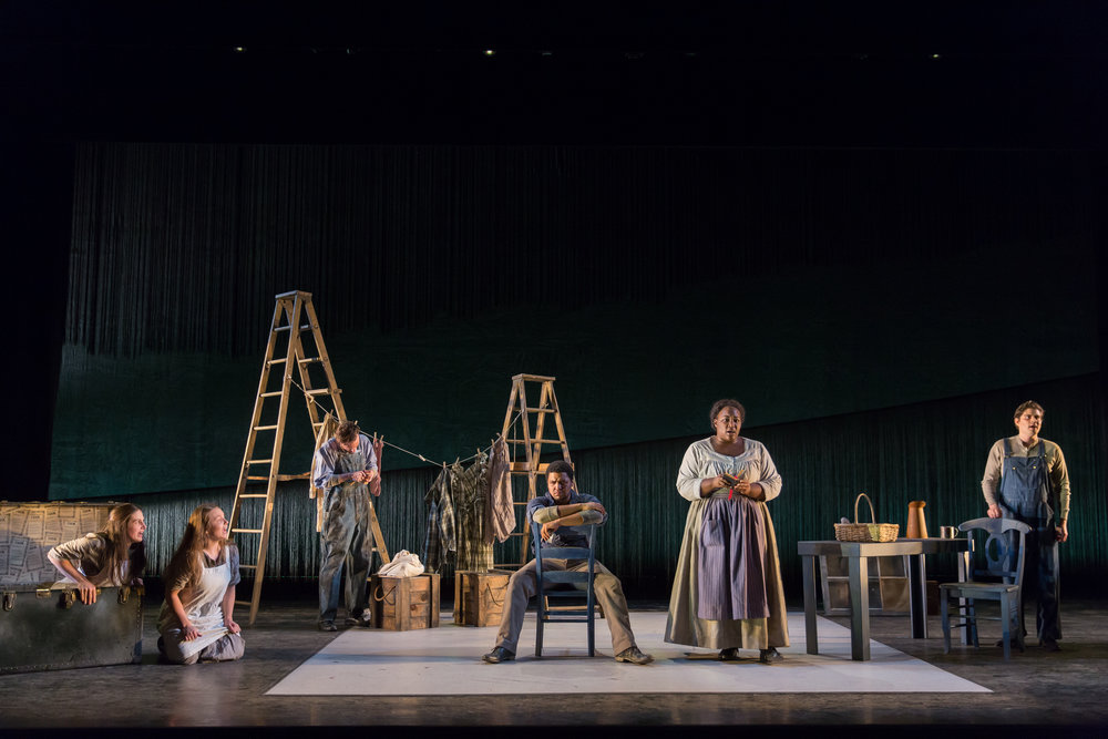 l to r: Allegra De Vita, Madison Leonard, Alan Naylor, Christopher Kenney, Leah Hawkins, and Arnold Livingston Geis. Photo by Scott Suchman; courtesy of Washington National Opera.