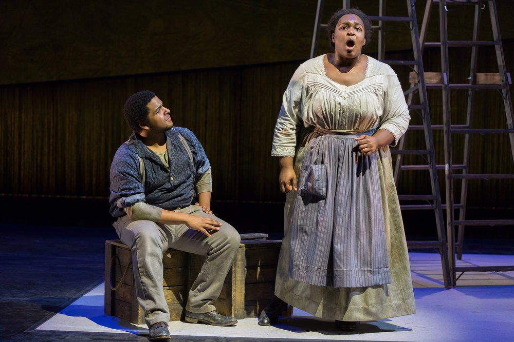 Christopher Kenney as Pa Zegner and Leah Hawkins as Ma Zegner. Photo by Scott Suchman; courtesy of Washington National Opera.