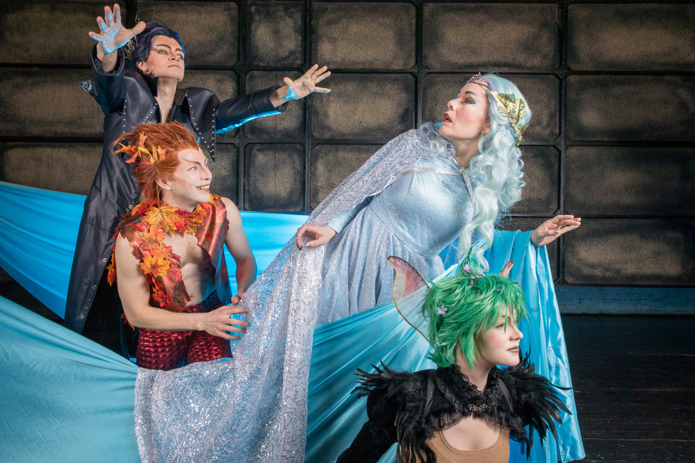 Cast members Owen Willetts as Oberon, Morgan White as Puck, Heather Buck as Tytania, and Hannah Ramsbottom as Peaseblossom. Photo by Ben Schill Photography; courtesy of Virginia Opera.