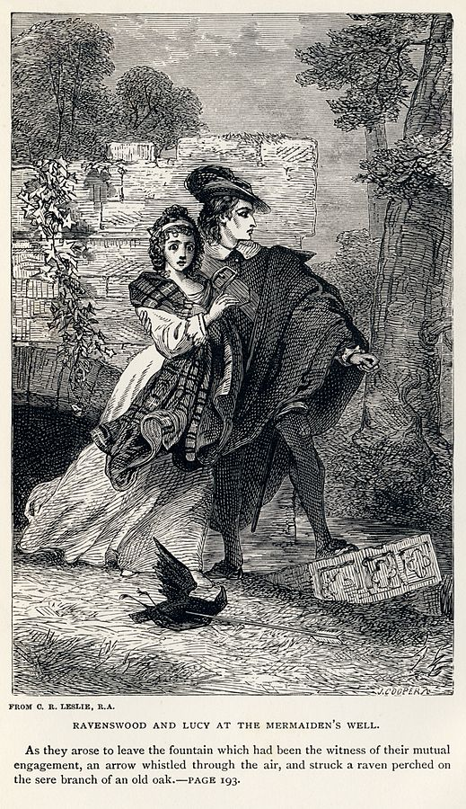 "Etching by Charles Robert Leslie of scene from Sir Walter Scott's ""The Bride of Lammermoor"". Etching is in public domain; accessed via  Wikipedia ."