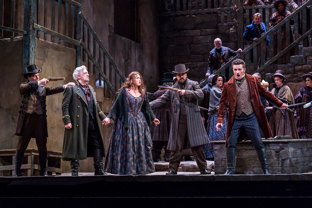 Placido Domingo as MIller; Sonya Yoncheva as Luisa, and Piotr Beczala as Rudolfo. Photo by Chirs Lee; courtesy of the Metropolitan Opera.