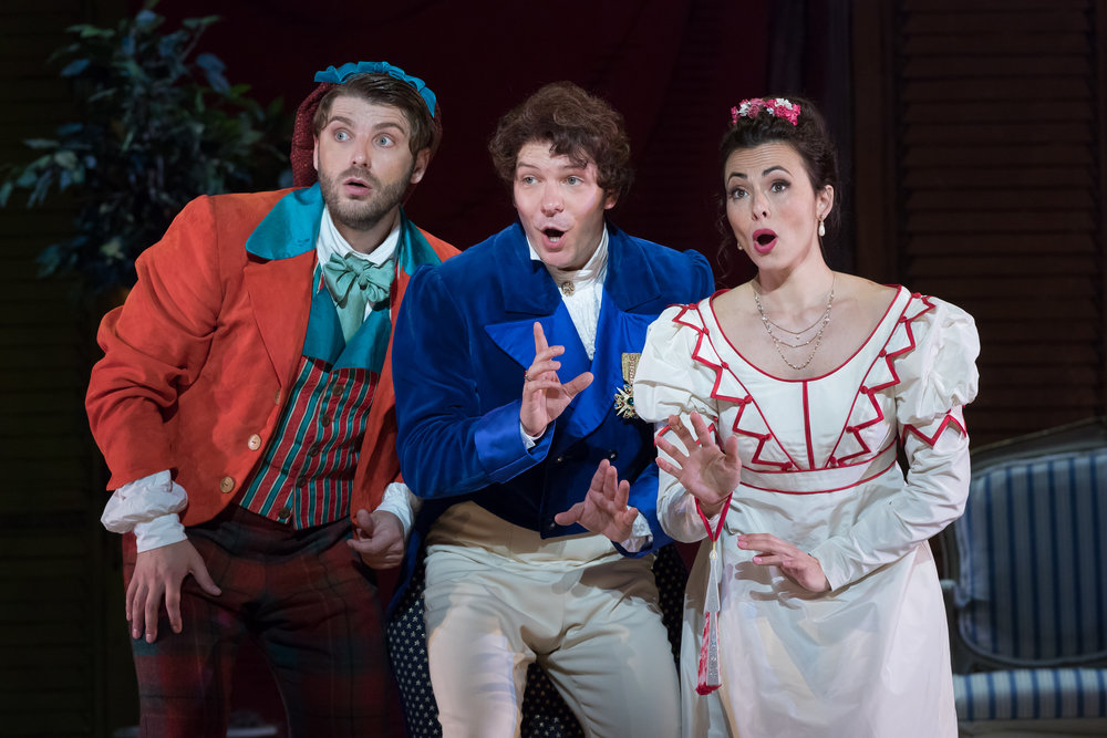 Figaro (Andrey Zhilikhovsky), Almaviva (Taylor Stayton), and Rosina (Isabel Leonard). Photo by Scott Suchman; courtesy of Washington National Opera.