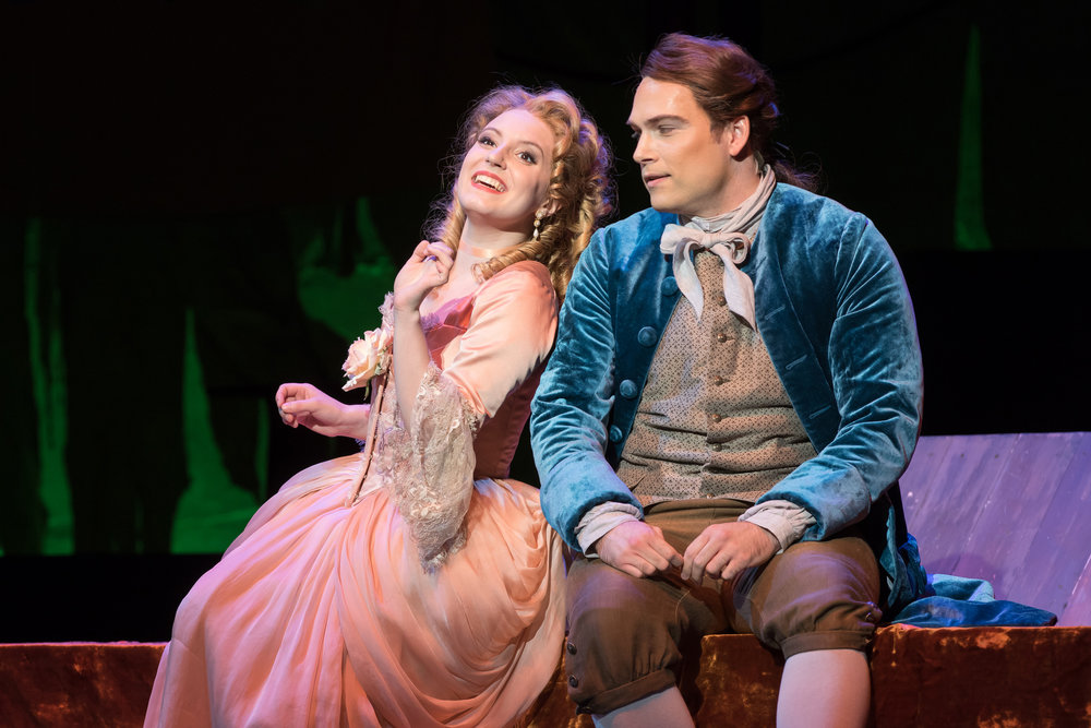 Emily Pogorelc as Cunegonda and Alek Shrader as Candide. Photo by Scott Suchman; courtesy of Washington National Opera.