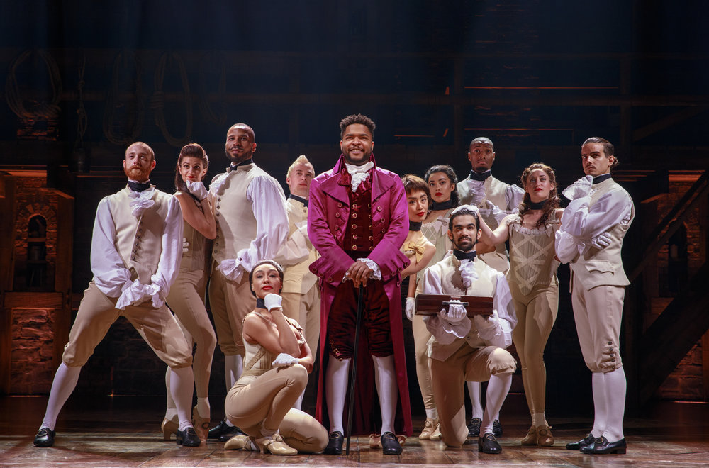 Thomas Jefferson (Bryson Bruce) and Company - HAMILTON National Tour. Photo by Joan Marcus; courtesy of the Kennedy Center.
