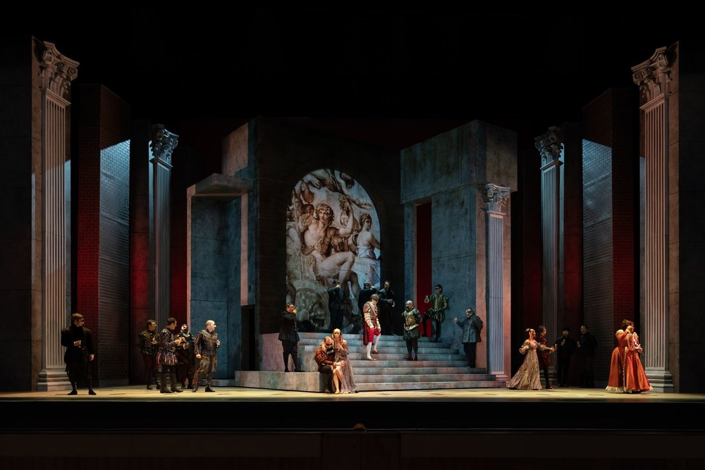 Opening set and cast for  Rigoletto . Photo by Scott Suchman; courtesy of Wolf Trap Opera.