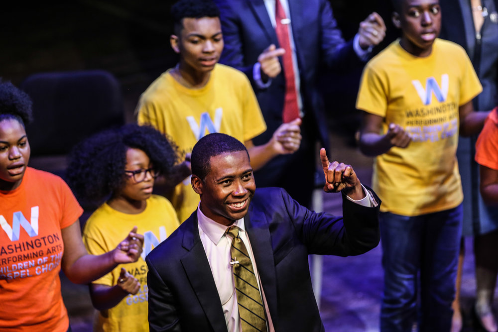 Dr. Rollo Dilworth of Temple University and the Children of the Gospel Choir led the audience in a closing song. Photo by Jati Linsay; courtesy of the Kennedy Center.