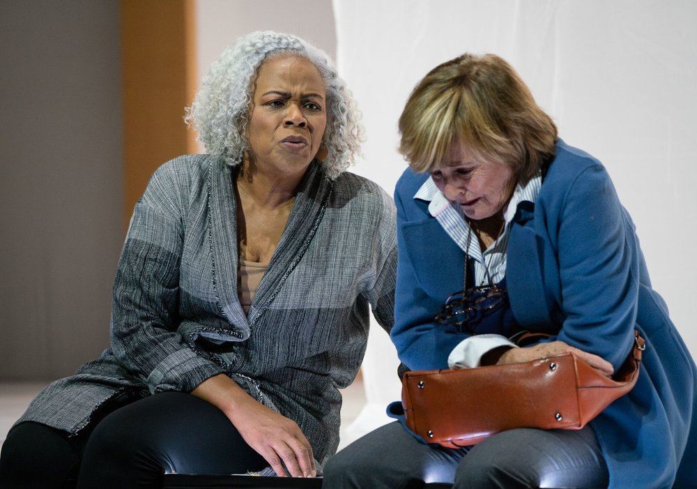 Martha (Marietta Simpson) comforts Danny (Frederica von Stade) when she enters the Alzheimer's care facility. Photo by Dominic M. Mercier; courtesy of Opera Philadelphia.