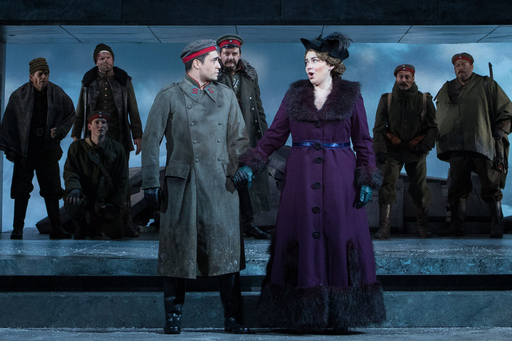 The opera singers, Anna Sørensen played by Raquel González and Nikolaus Spinks played by Alexander McKissick. Photo by Teresa Wood; courtesy of Washington National Opera.