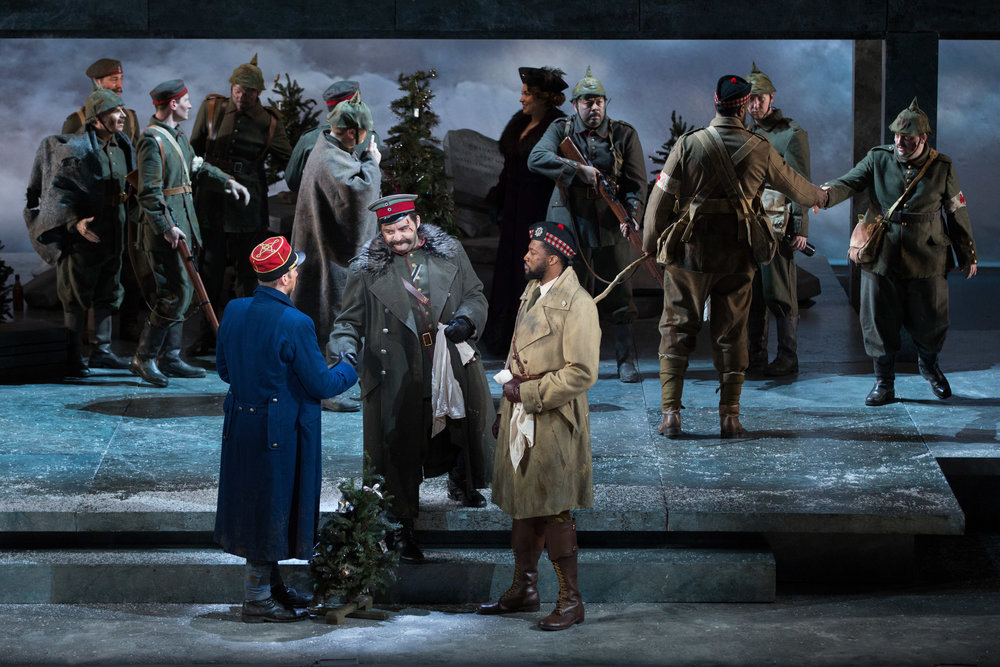 Lt. Audebert played by Michael Adams, Lt. Horstmayer played by Alexsey Bogdanov, and Lt. Gordon played by Norman Garrett negotiating the truce. Photo by Teresa Wood; courtesy of Washington National Opera.
