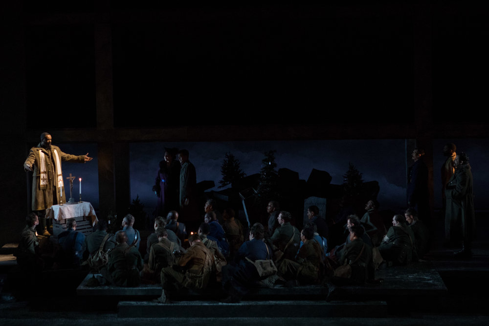 Scottish Father Palmer played by Kenneth Kellogg conducts mass for all the soldiers. Photo by Teresa Wood; courtesy of Washington National Opera.