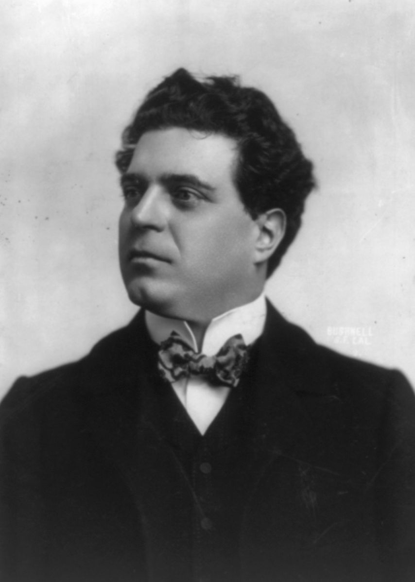 Pietro Mascagni, photo in public domain in Library of Congress; accessed from  Wikipedia .