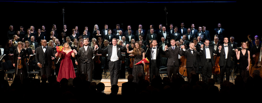 Sapho cast with WCO Artistic Director and Conductor Antony Walker in center. Photo by Don Lassell; courtesy of Washington Concert Opera.