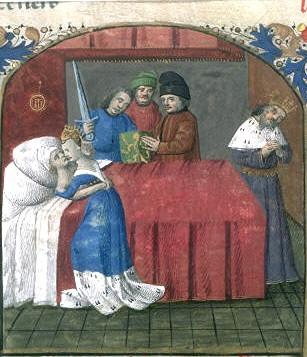 La mort de Tristan et d'Yseut. Miniature du xve siècle.  BnF . Public domain image from  French Wikipedia .