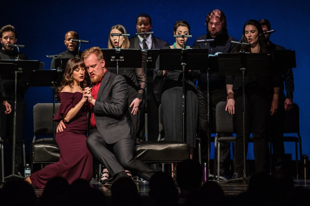Seated are the lovers, Iseut played by Shannon Jennings and Tristan played by Ian Koziara, unable to resist the effect of the potion. Photo by Angelina Namkung for Wolf Trap; courtesy of Washington Concert Opera and Wolf Trap Opera.