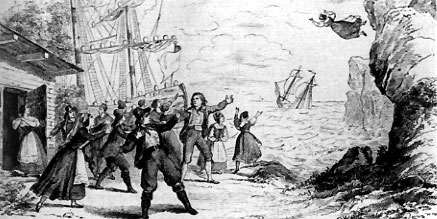 Depiction of the last scene of  The Flying Dutchma n (1843); artist unknown. Public domain; from  Wikipedia .
