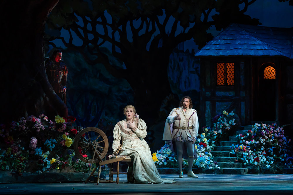 Soprano Erin Wall as Marguerite and tenor Marcelo Puente as the young Faust in one of the fairytale sets. Photo by Scott Suchman; courtesy of Washington National Opera.