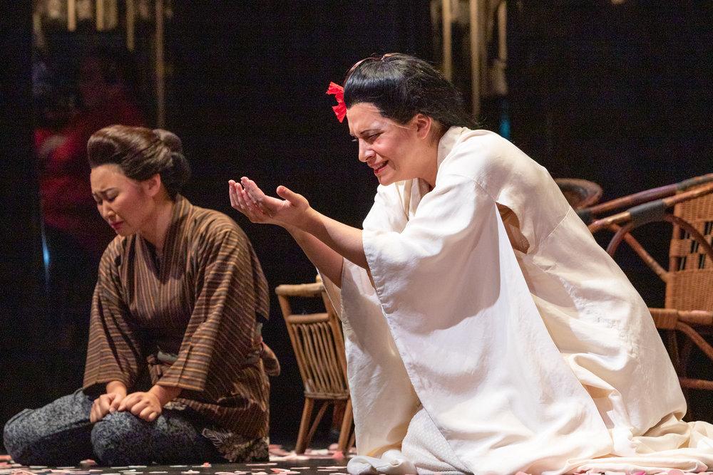 Suzuki (Kristen Choi) and Cio-Cio-San (Danielle Pastin) confronting the truth. Photo by Ben Schill Photography; courtesy of Virginia Opera.