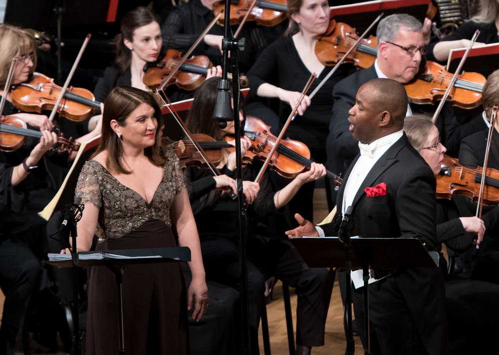 Silvia Tro Santafé as Zelmira and Lawrence Brownlee as Prince Ilo. Photo by Don Lassell; courtesy of Washington Concert Opera.