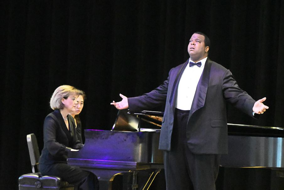 Pianist Eileen Cornett, page turner Sophia Dutton, and First Prize winner, baritone Joshua Conyers. Photo by Mike Halbig; courtesy of Annapolis Opera.