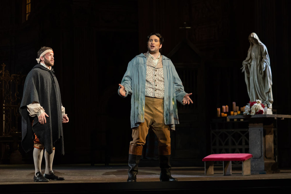 Michael Hewitt as Angelotti and Riccardo Massi as Cavaradossi. Photo by Scott Suchman; courtesy of Washington National Opera.
