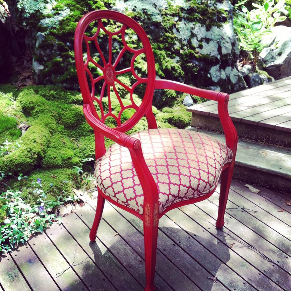 HUDSON GOLD / REFURBISHED ARM CHAIR / CHINA RED