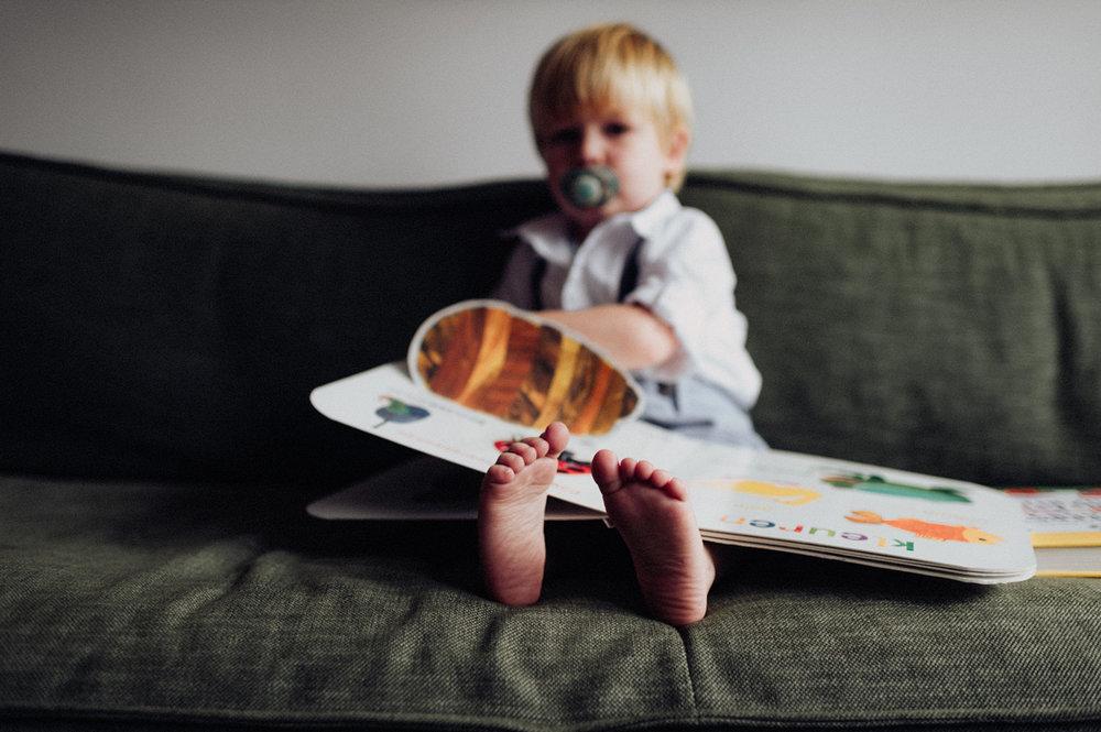 Feet of child in focus