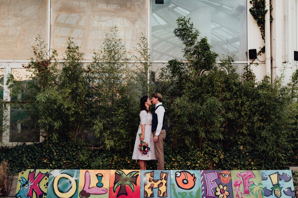 Bride and groom portrait at Aloha Bar Rotterdam