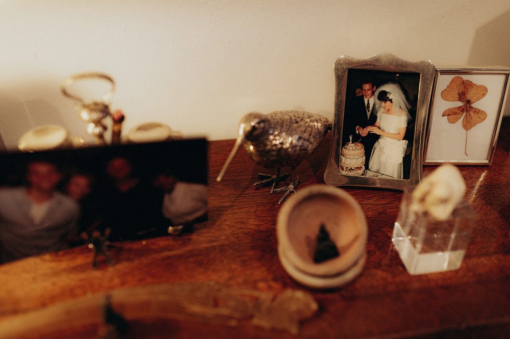 Cupboard with photo of wedding bride and groom