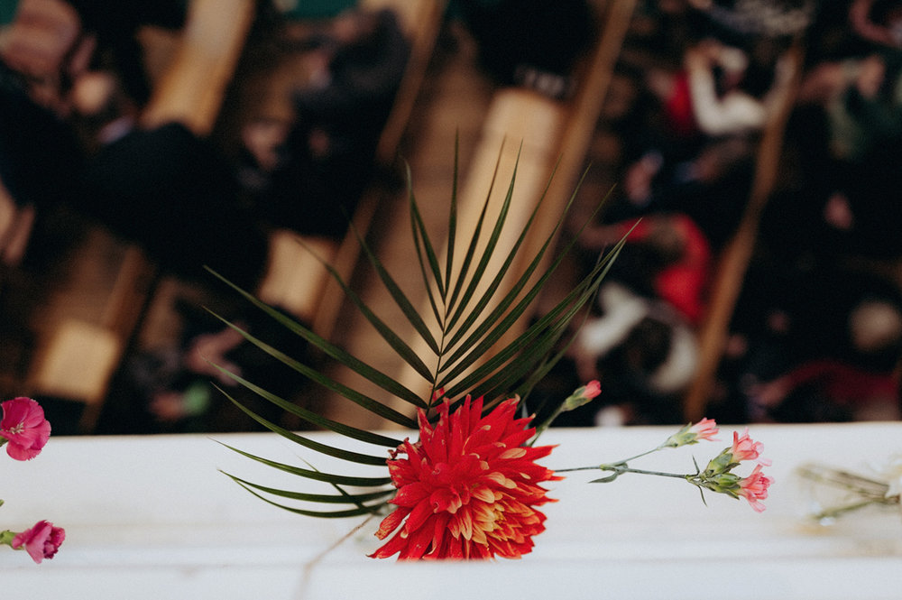 Beautiful red flower decoration at wedding