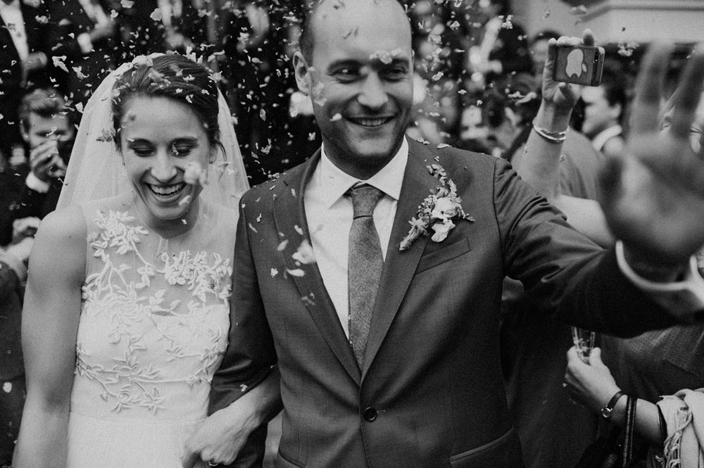 Bride and groom close up after wedding ceremony at Keizersgracht Kerk Amsterdam
