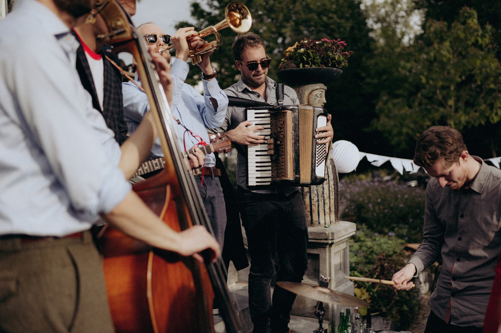 Band playing wedding at terrace of VondelCS in Amsterdam