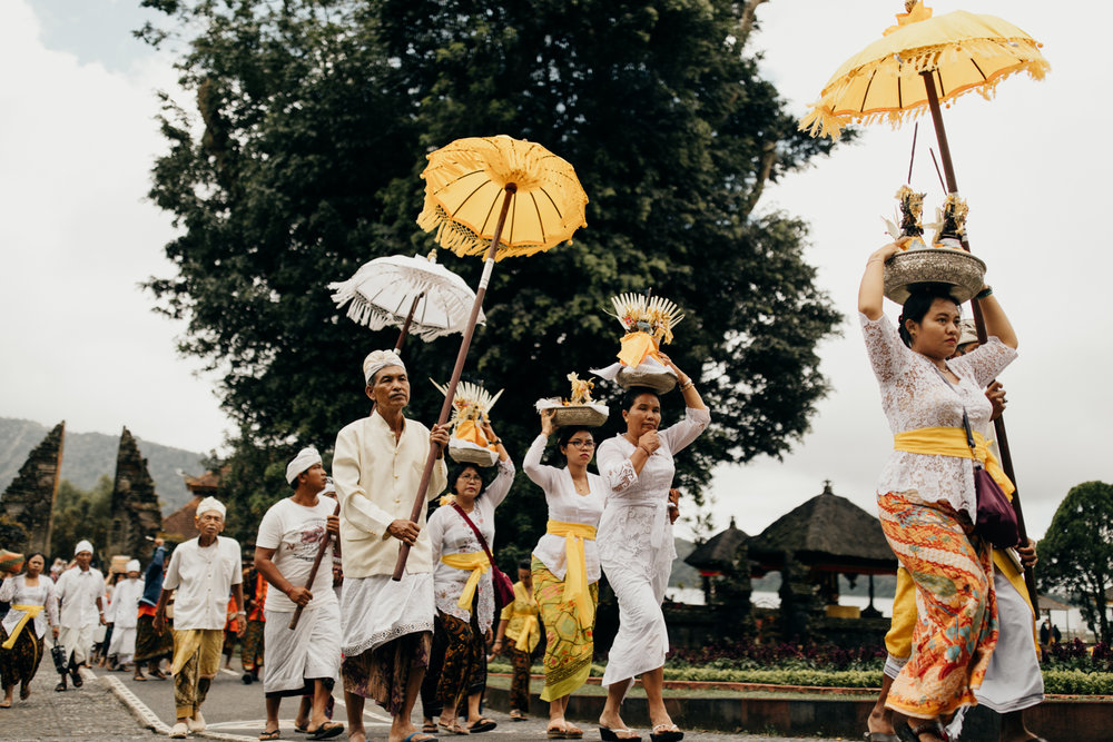 People in ceremony in Bali, Indonesia