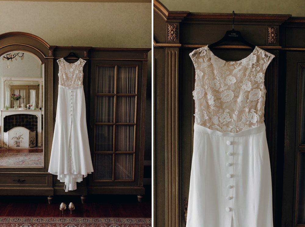 Wedding dress hanging on closet