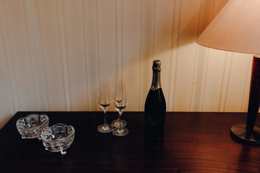Champagne in Chateau de Presseux