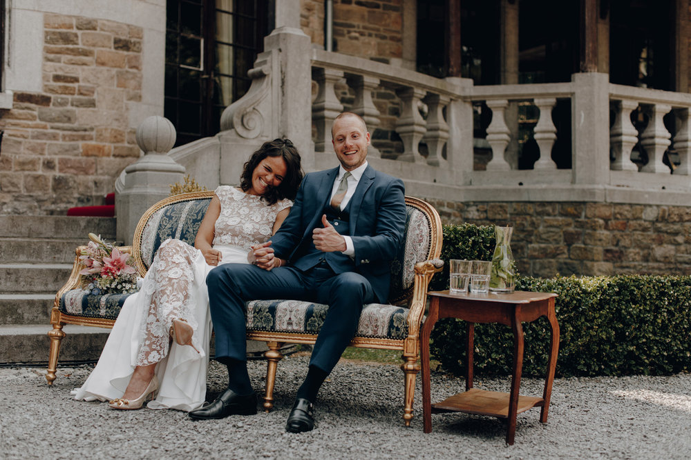 Bride and Groom during ceremony at Chateau de Presseux