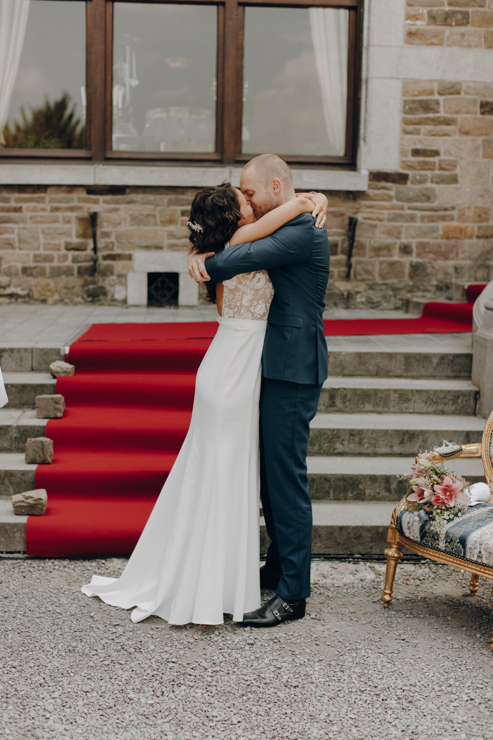 Bride and Groom married at Chateau de Presseux