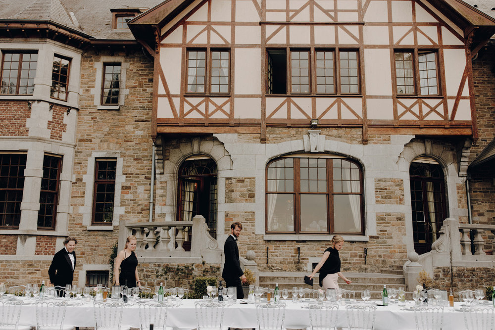 People arriving for dinner at Chateau de Presseux
