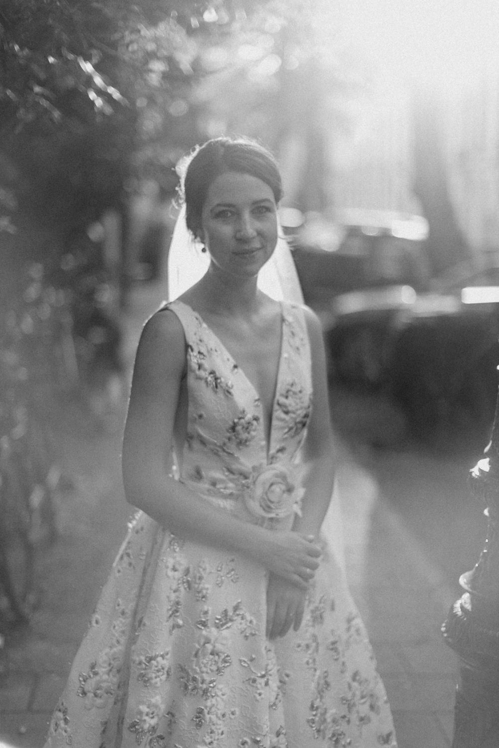 Portrait of bride in the streets of Amsterdam