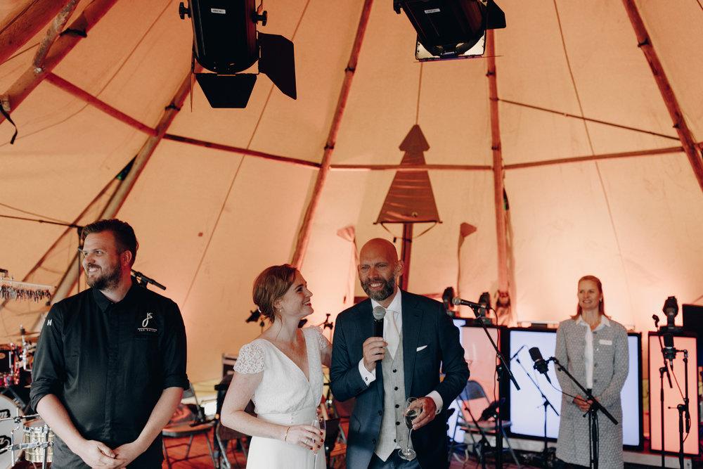 Bride and Groom in scandinavian tipi