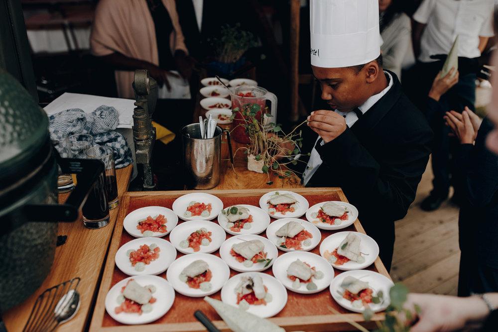 Kid preparing food at wedding
