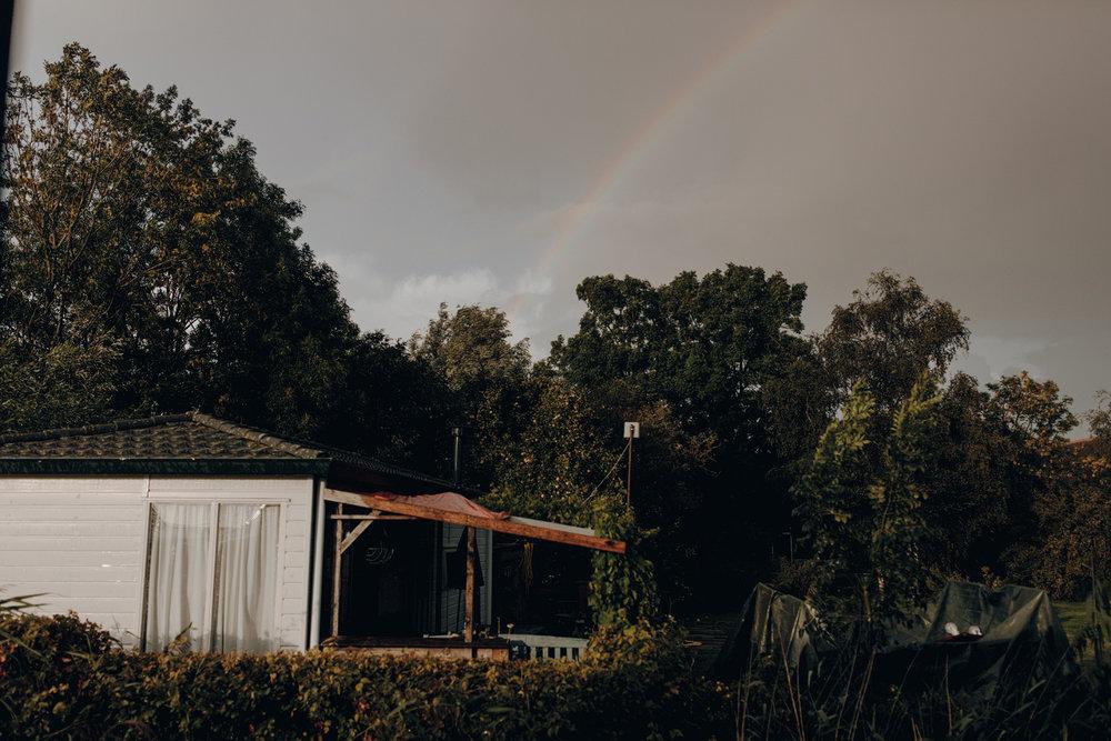 Rainbow during wedding