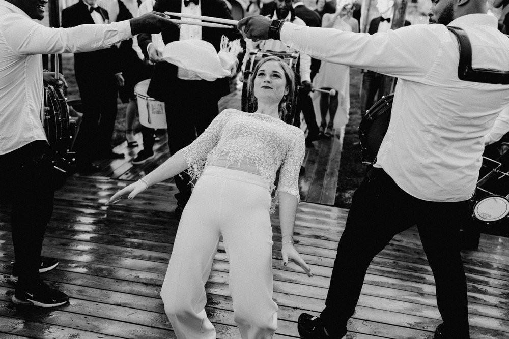 Brass band has bride dancing