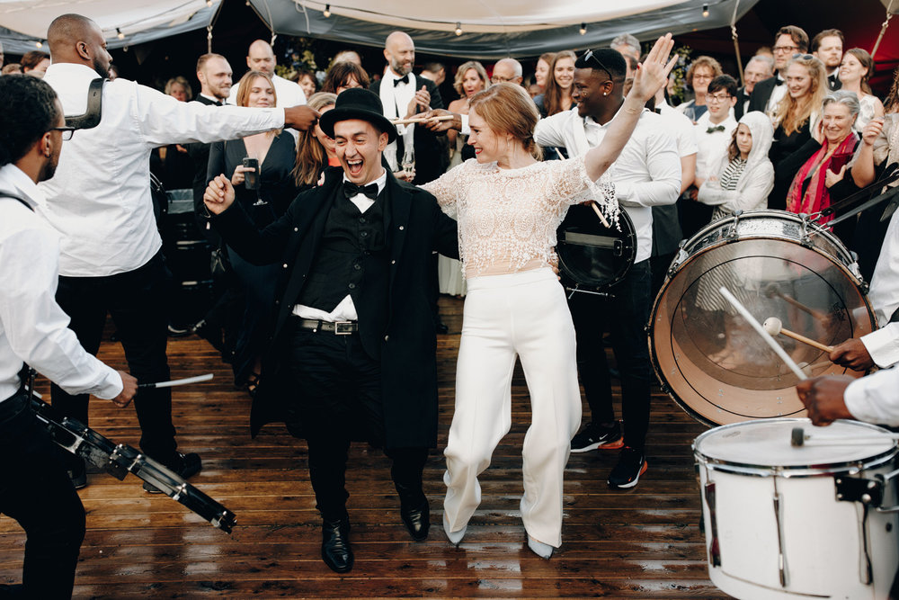 Bride partying with brass band