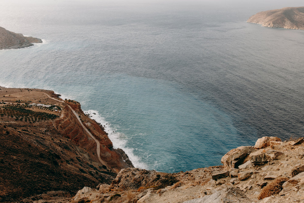 Coastline of Crete, Greece with blue sea